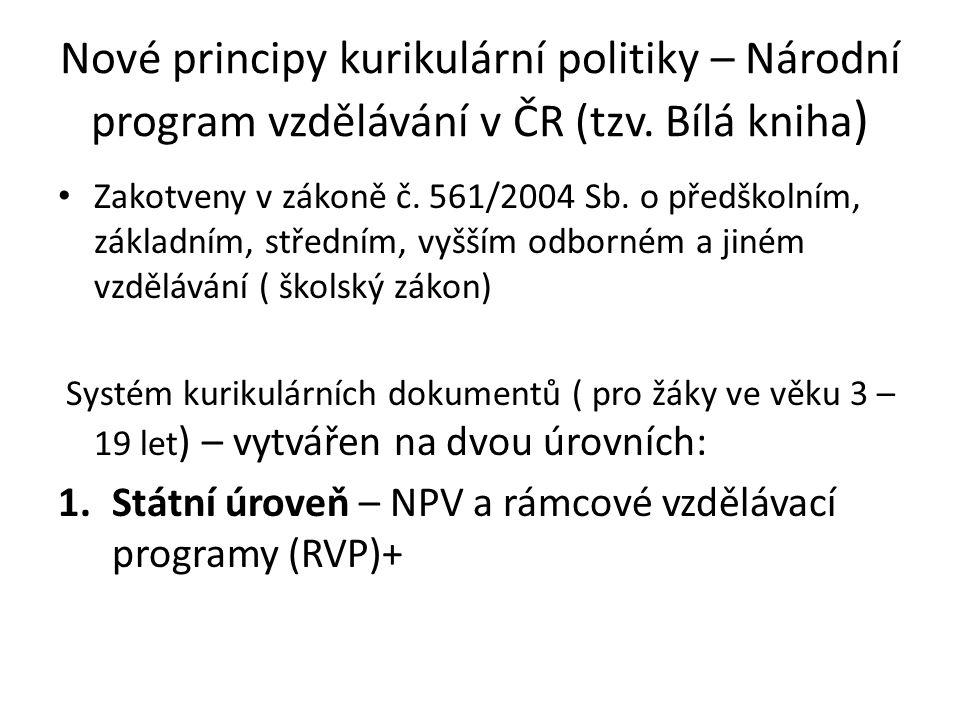 Nové principy kurikulární politiky – Národní program vzdělávání v ČR (tzv. Bílá kniha ) Zakotveny v zákoně č. 561/2004 Sb. o předškolním, základním, s