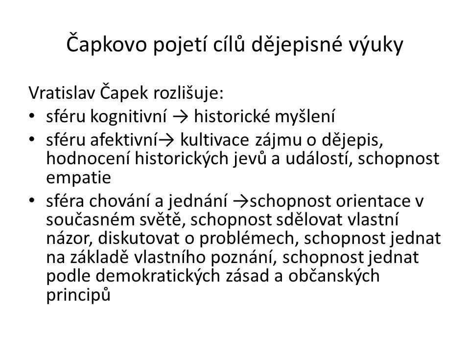 Čapkovo pojetí cílů dějepisné výuky Vratislav Čapek rozlišuje: sféru kognitivní → historické myšlení sféru afektivní→ kultivace zájmu o dějepis, hodno