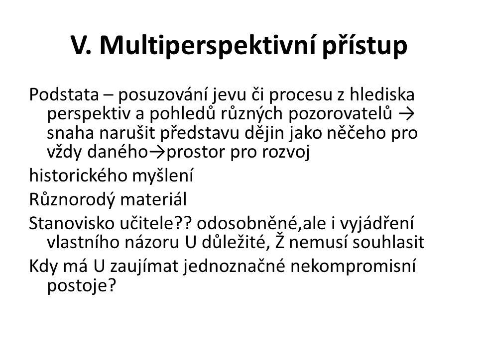 V. Multiperspektivní přístup Podstata – posuzování jevu či procesu z hlediska perspektiv a pohledů různých pozorovatelů → snaha narušit představu ději
