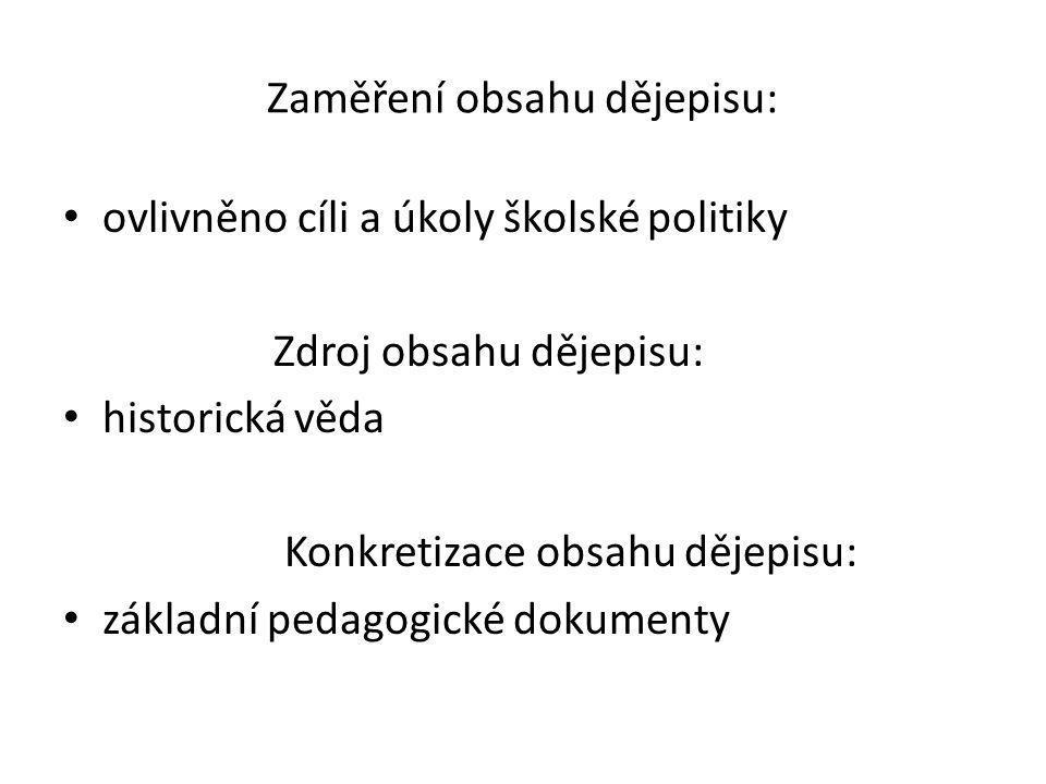 Zaměření obsahu dějepisu: ovlivněno cíli a úkoly školské politiky Zdroj obsahu dějepisu: historická věda Konkretizace obsahu dějepisu: základní pedagogické dokumenty