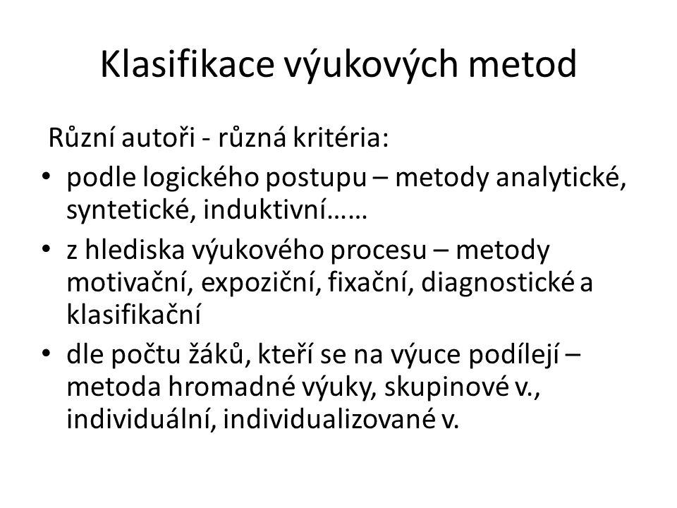 Klasifikace výukových metod Různí autoři - různá kritéria: podle logického postupu – metody analytické, syntetické, induktivní…… z hlediska výukového