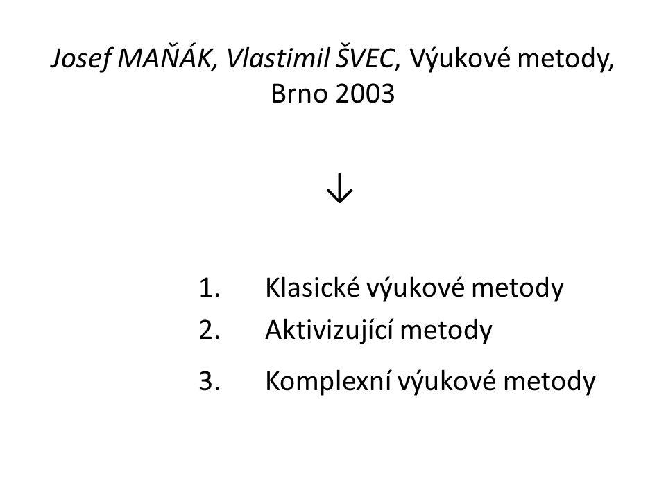Josef MAŇÁK, Vlastimil ŠVEC, Výukové metody, Brno 2003 ↓ 1.Klasické výukové metody 2.Aktivizující metody 3.Komplexní výukové metody