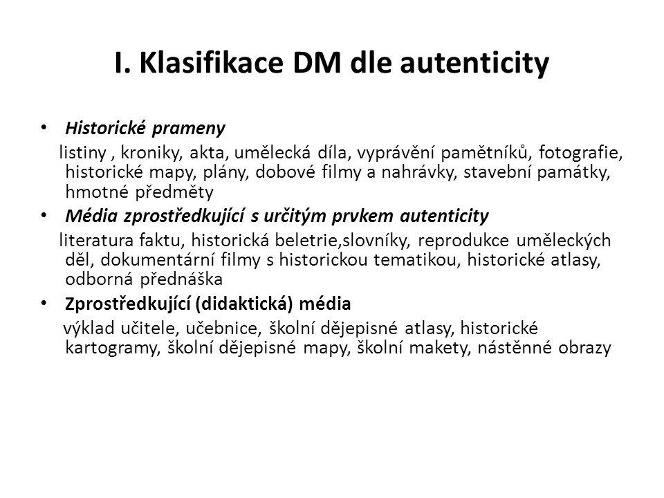 I. Klasifikace DM dle autenticity Historické prameny listiny, kroniky, akta, umělecká díla, vyprávění pamětníků, fotografie, historické mapy, plány, d