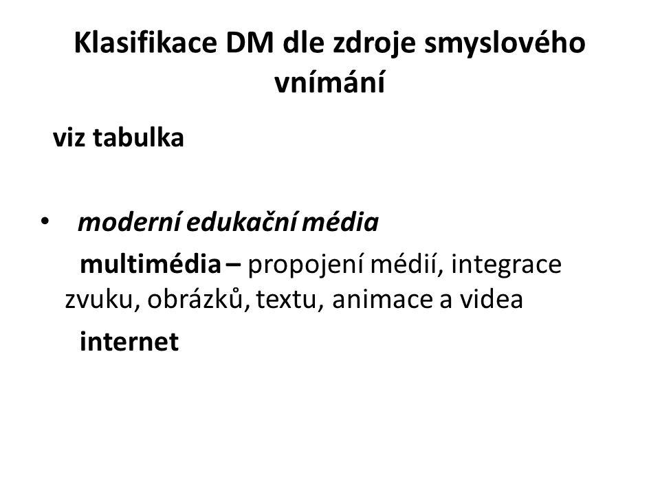 Klasifikace DM dle zdroje smyslového vnímání viz tabulka moderní edukační média multimédia – propojení médií, integrace zvuku, obrázků, textu, animace a videa internet
