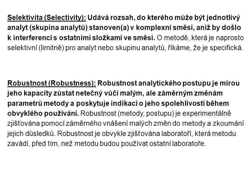 Selektivita (Selectivity): Udává rozsah, do kterého může být jednotlivý analyt (skupina analytů) stanoven(a) v komplexní směsi, aniž by došlo k interf