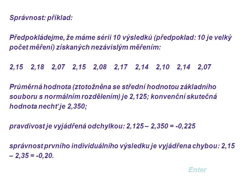Správnost: příklad: Předpokládejme, že máme sérii 10 výsledků (předpoklad: 10 je velký počet měření) získaných nezávislým měřením: 2,15 2,18 2,07 2,15