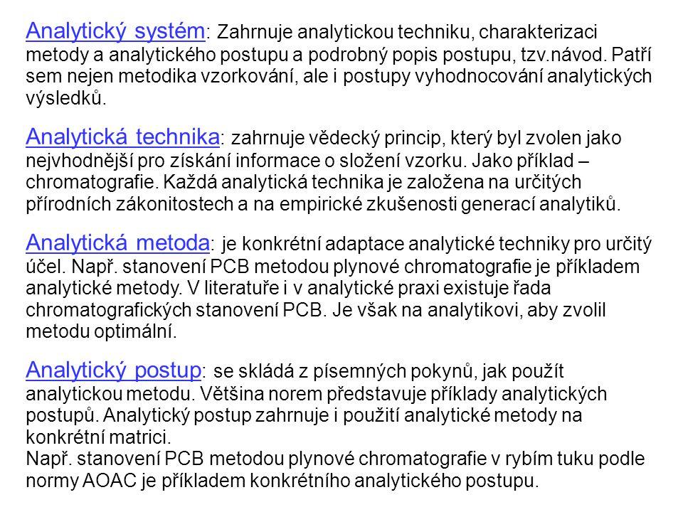 Analytický systém : Zahrnuje analytickou techniku, charakterizaci metody a analytického postupu a podrobný popis postupu, tzv.návod. Patří sem nejen m