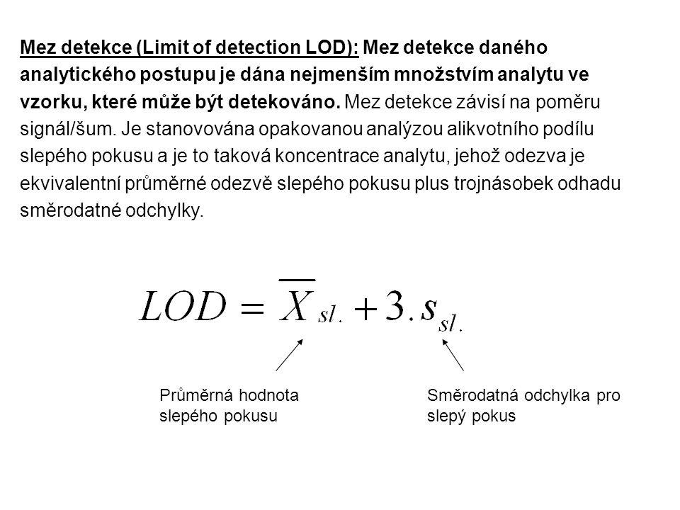 Mez detekce (Limit of detection LOD): Mez detekce daného analytického postupu je dána nejmenším množstvím analytu ve vzorku, které může být detekováno