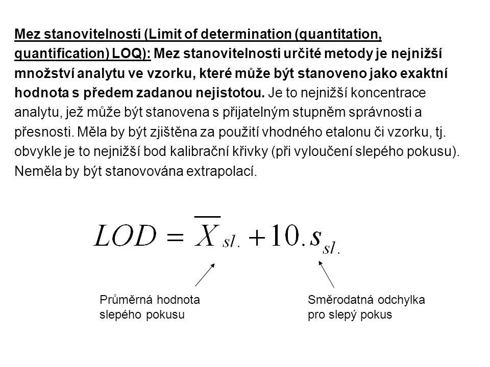 Mez stanovitelnosti (Limit of determination (quantitation, quantification) LOQ): Mez stanovitelnosti určité metody je nejnižší množství analytu ve vzo