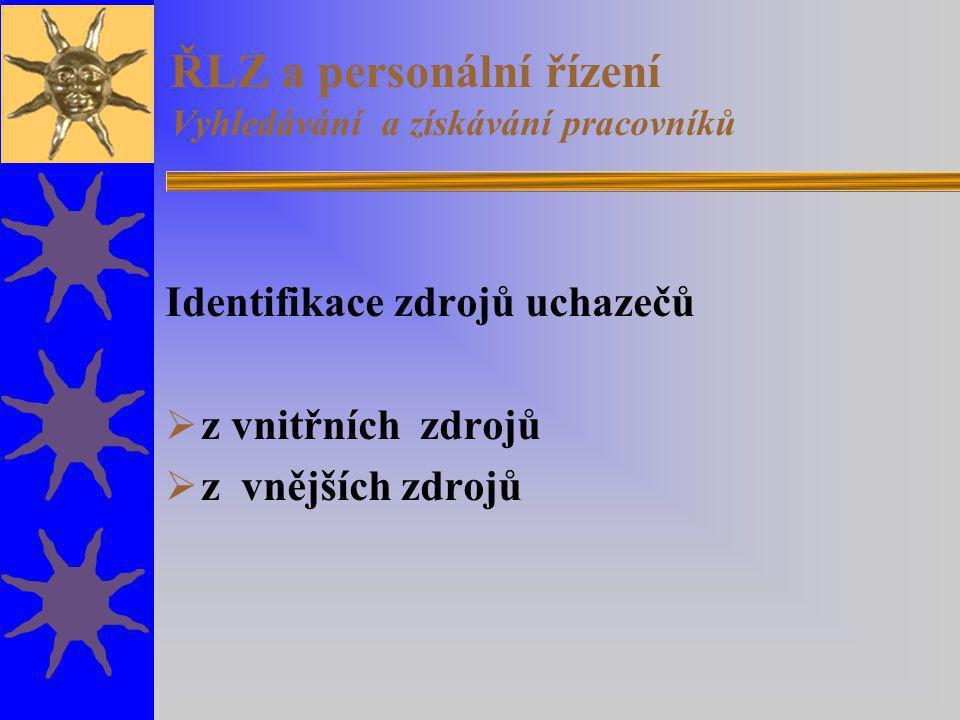 ŘLZ a personální řízení Vyhledávání a získávání pracovníků Identifikace zdrojů uchazečů  z vnitřních zdrojů  z vnějších zdrojů
