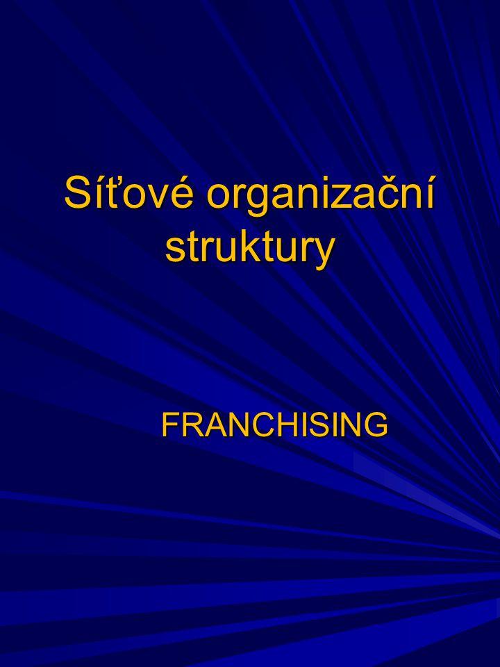 Síťové organizační struktury FRANCHISING