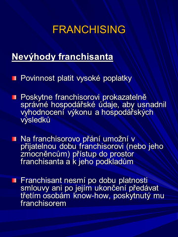 FRANCHISING Nevýhody franchisanta Povinnost platit vysoké poplatky Poskytne franchisorovi prokazatelně správné hospodářské údaje, aby usnadnil vyhodno