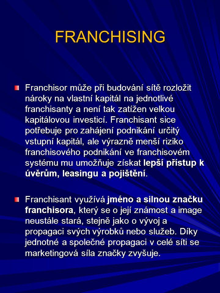 FRANCHISING Franchisor může při budování sítě rozložit nároky na vlastní kapitál na jednotlivé franchisanty a není tak zatížen velkou kapitálovou inve