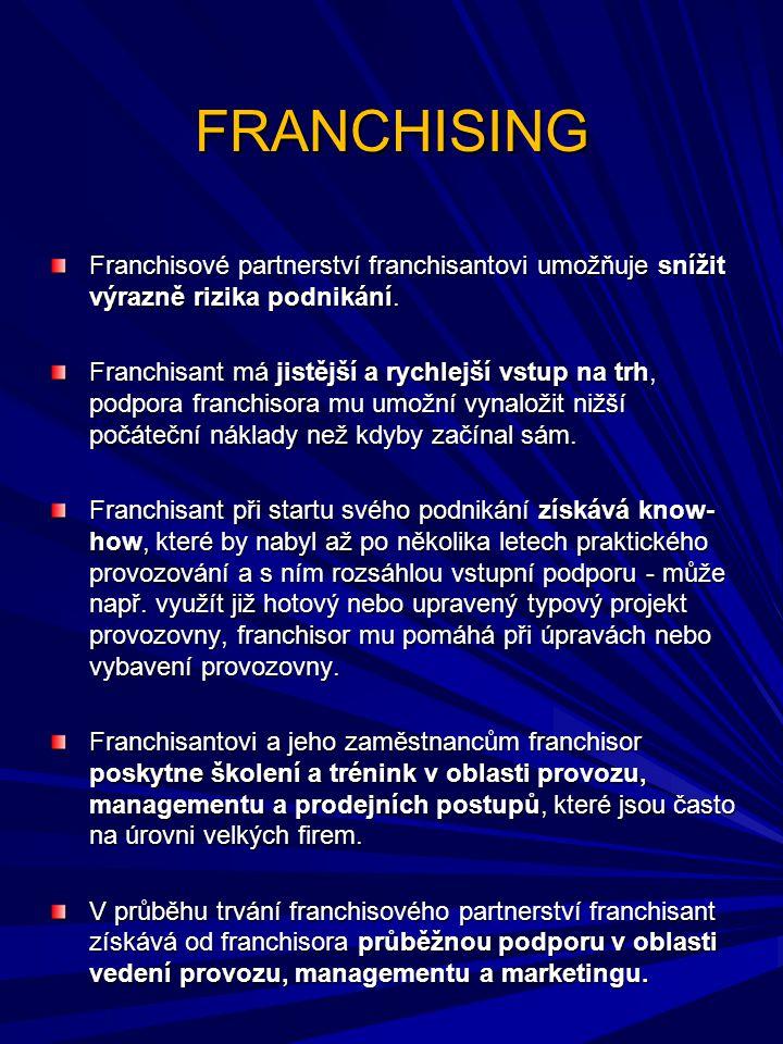 FRANCHISING Franchisové partnerství franchisantovi umožňuje snížit výrazně rizika podnikání. Franchisant má jistější a rychlejší vstup na trh, podpora