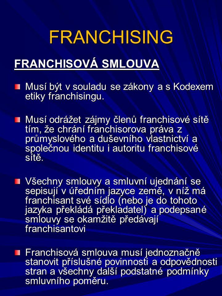 FRANCHISING FRANCHISOVÁ SMLOUVA Musí být v souladu se zákony a s Kodexem etiky franchisingu. Musí odrážet zájmy členů franchisové sítě tím, že chrání