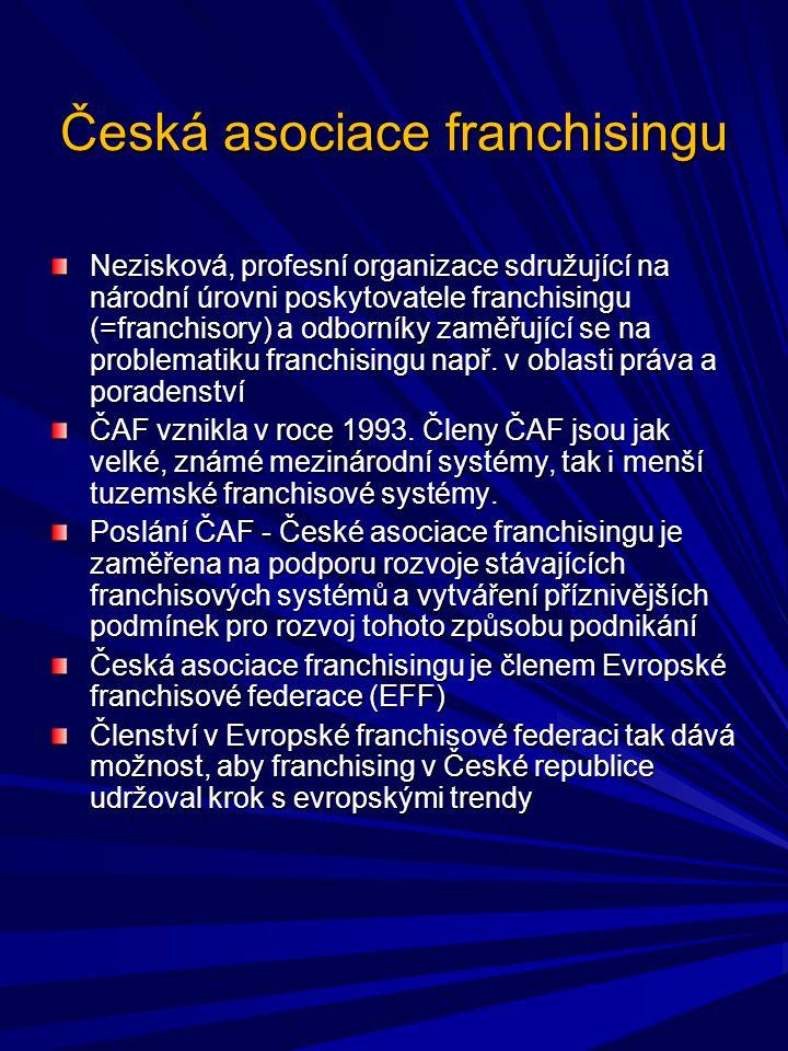 Česká asociace franchisingu Nezisková, profesní organizace sdružující na národní úrovni poskytovatele franchisingu (=franchisory) a odborníky zaměřují