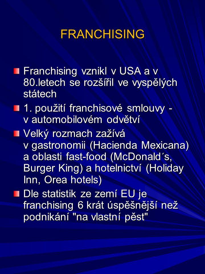 FRANCHISING Franchising vznikl v USA a v 80.letech se rozšířil ve vyspělých státech 1. použití franchisové smlouvy - v automobilovém odvětví Velký roz