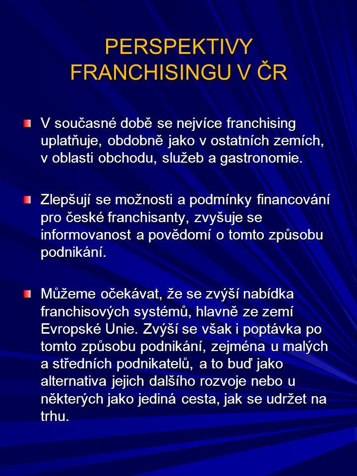 PERSPEKTIVY FRANCHISINGU V ČR V současné době se nejvíce franchising uplatňuje, obdobně jako v ostatních zemích, v oblasti obchodu, služeb a gastronom