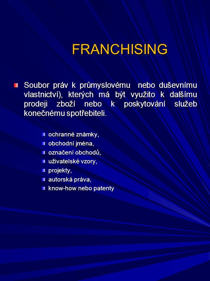 FRANCHISING Základní pojmy FRANCHISA - licence (právo) opravňující franchisanta k provozování odbytové koncepce franchisora vlastním jménem na vlastní účet FRANCHISOR - poskytovatel franchisy FRANCHISANT - franchisový příjemce, nabyvatel franchisy FRANCHISOVÉ POPLATKY - platby, které platí franchisant franchisorovi za licenci a služby FRANCHISOVÁ SMLOUVA - dlouhodobá smlouva upravující základní vztahy mezi franchisorem a franchisantem Základní pojmy