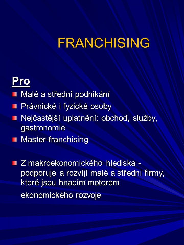 FRANCHISING Pro Malé a střední podnikání Právnické i fyzické osoby Nejčastější uplatnění: obchod, služby, gastronomie Master-franchising Z makroekonom