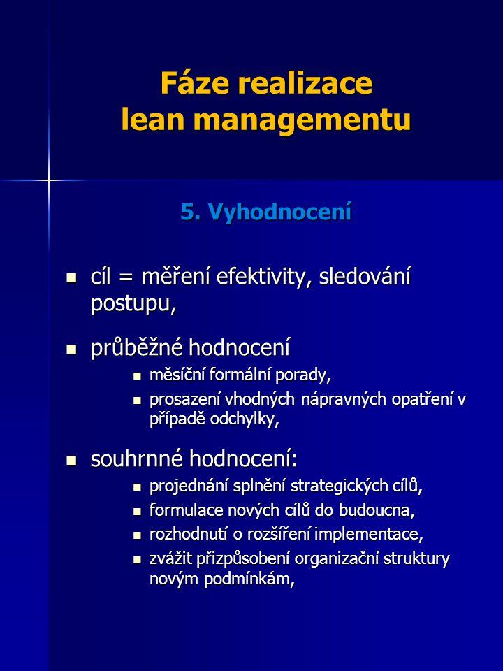 Fáze realizace lean managementu 5. Vyhodnocení cíl = měření efektivity, sledování postupu, cíl = měření efektivity, sledování postupu, průběžné hodnoc