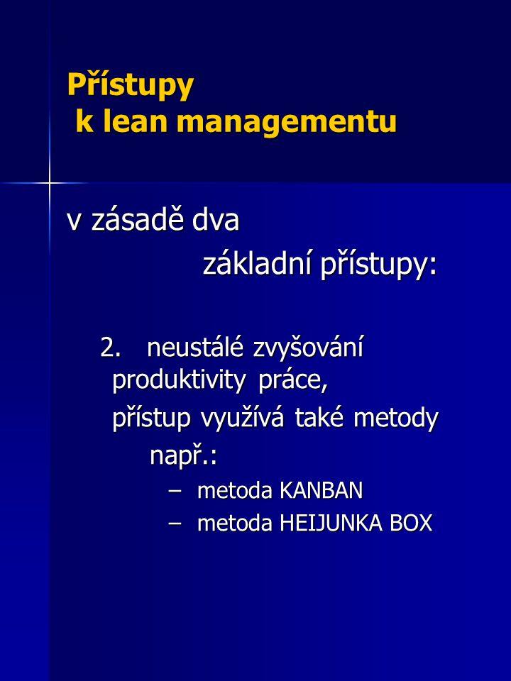 Přístupy k lean managementu v zásadě dva základní přístupy: 2. neustálé zvyšování produktivity práce, 2. neustálé zvyšování produktivity práce, přístu