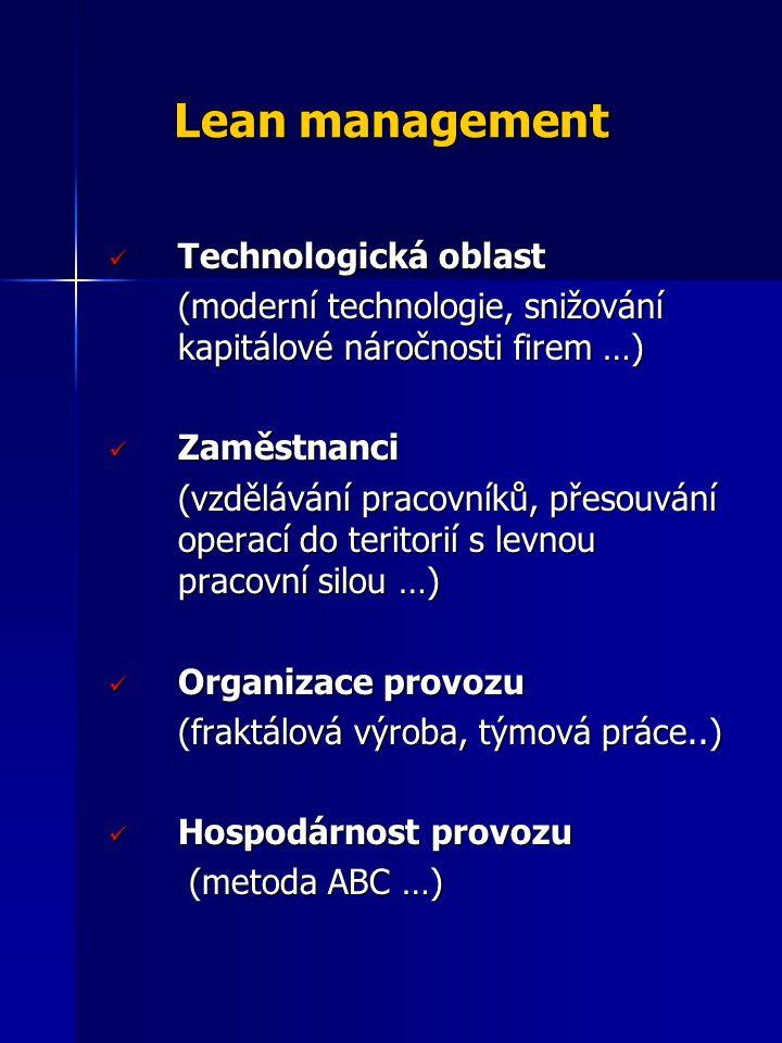 Lean management Technologická oblast Technologická oblast (moderní technologie, snižování kapitálové náročnosti firem …) Zaměstnanci Zaměstnanci (vzdě