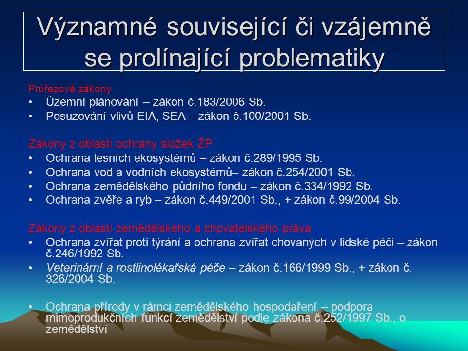 Významné související či vzájemně se prolínající problematiky Průřezové zákony Územní plánování – zákon č.183/2006 Sb. Posuzování vlivů EIA, SEA – záko