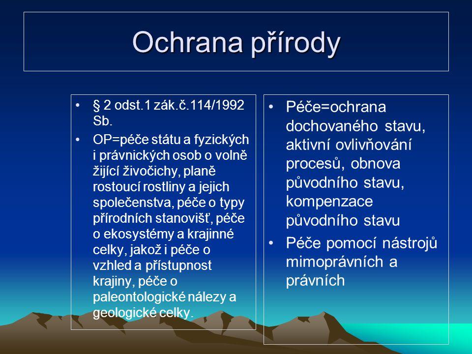 Ochrana přírody § 2 odst.1 zák.č.114/1992 Sb. OP=péče státu a fyzických i právnických osob o volně žijící živočichy, planě rostoucí rostliny a jejich