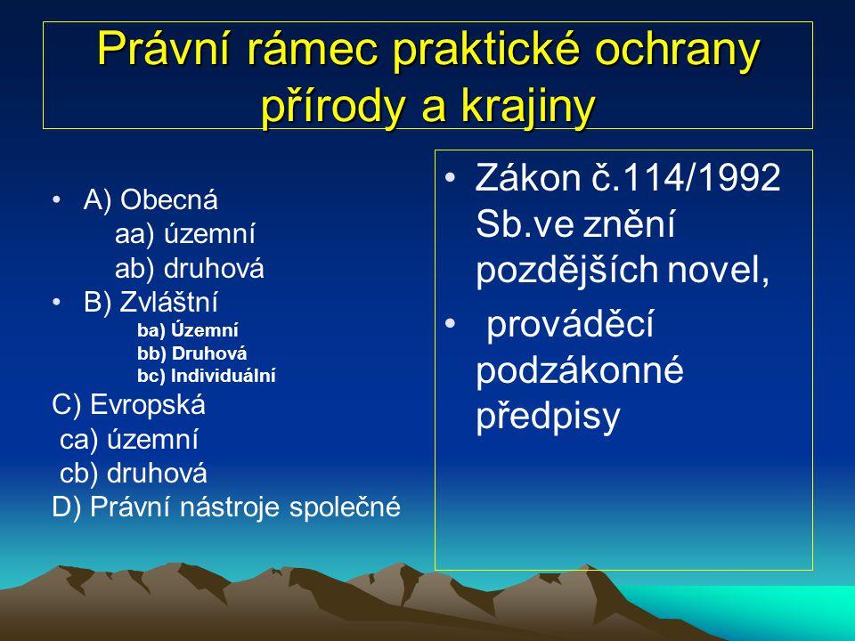 Prováděcí vyhlášky k zákonu č.114/1992 Sb.(výběr) Zákon č.