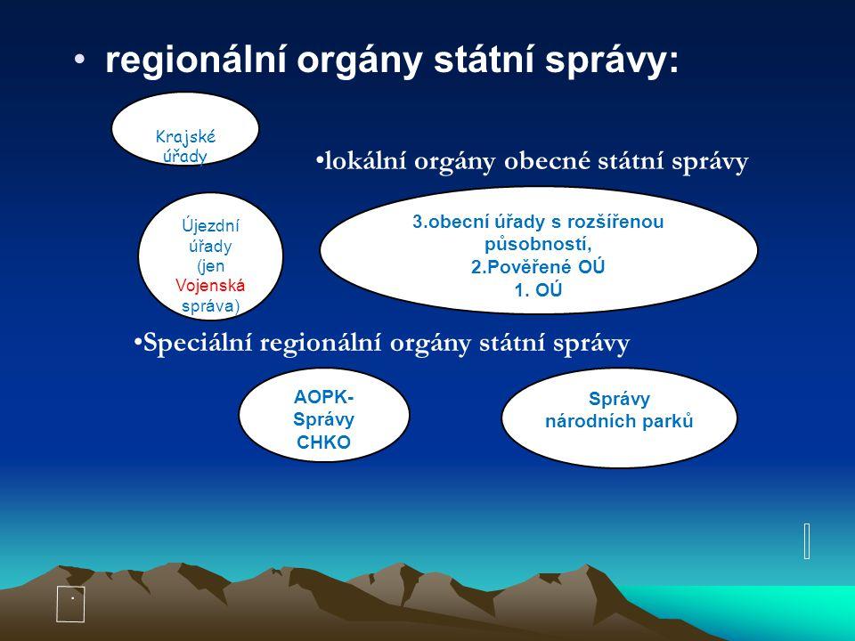 regionální orgány státní správy: lokální orgány obecné státní správy e, Krajské úřady 3.obecní úřady s rozšířenou působností, 2.Pověřené OÚ 1. OÚ Spec