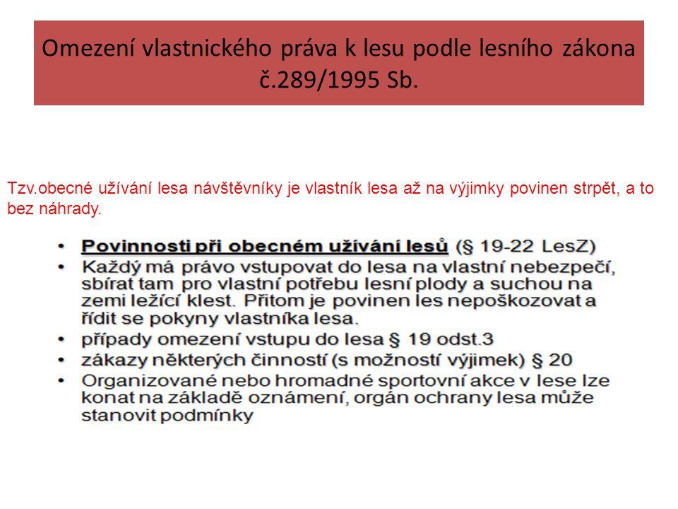 Omezení vlastnického práva k lesu podle lesního zákona č.289/1995 Sb.