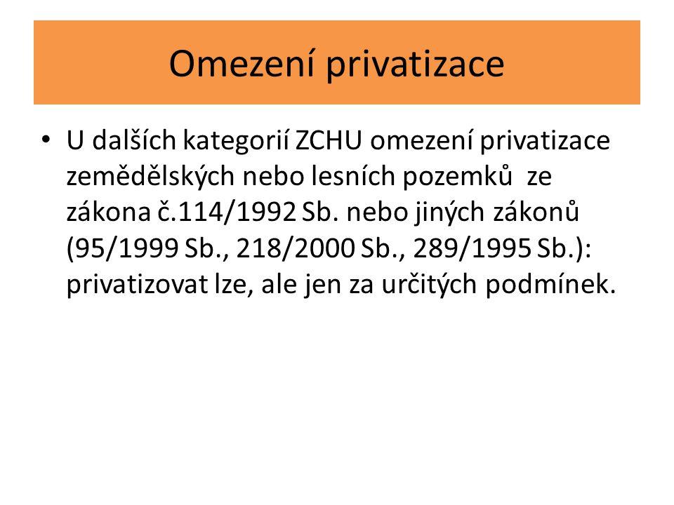 Omezení privatizace U dalších kategorií ZCHU omezení privatizace zemědělských nebo lesních pozemků ze zákona č.114/1992 Sb. nebo jiných zákonů (95/199