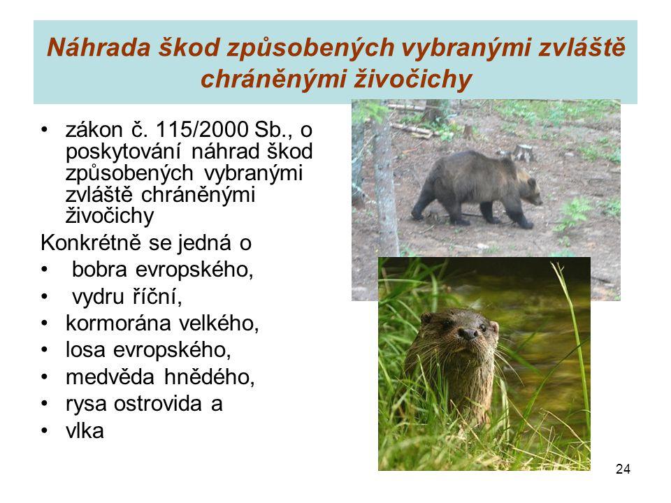 Náhrada škod způsobených vybranými zvláště chráněnými živočichy zákon č. 115/2000 Sb., o poskytování náhrad škod způsobených vybranými zvláště chráněn