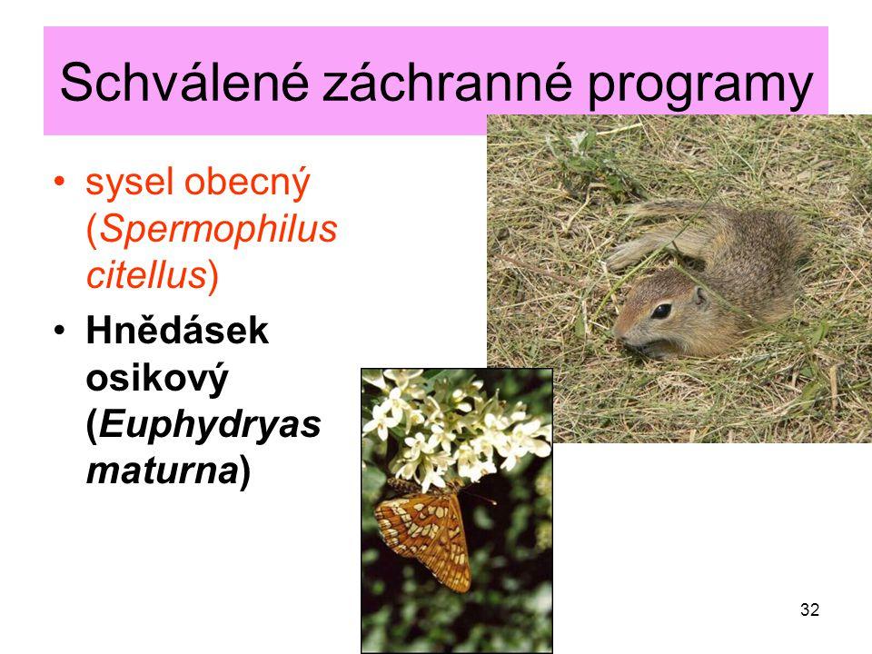 Schválené záchranné programy sysel obecný (Spermophilus citellus) Hnědásek osikový (Euphydryas maturna) 32