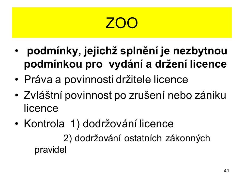 ZOO podmínky, jejichž splnění je nezbytnou podmínkou pro vydání a držení licence Práva a povinnosti držitele licence Zvláštní povinnost po zrušení neb