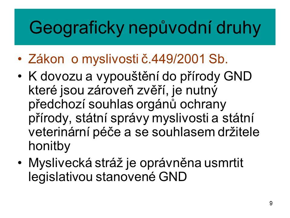 Geograficky nepůvodní druhy Zákon o myslivosti č.449/2001 Sb. K dovozu a vypouštění do přírody GND které jsou zároveň zvěří, je nutný předchozí souhla