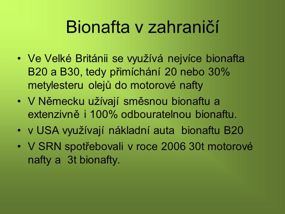 Bionafta v zahraničí Ve Velké Británii se využívá nejvíce bionafta B20 a B30, tedy přimíchání 20 nebo 30% metylesteru olejů do motorové nafty V Německu užívají směsnou bionaftu a extenzivně i 100% odbouratelnou bionaftu.