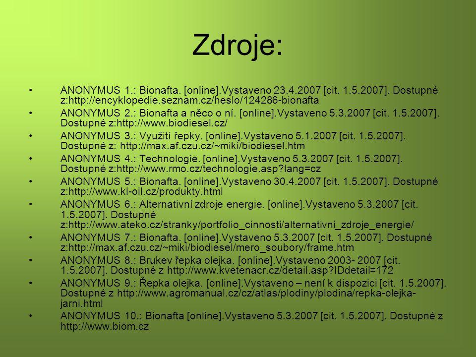 Zdroje: ANONYMUS 1.: Bionafta. [online].Vystaveno 23.4.2007 [cit. 1.5.2007]. Dostupné z:http://encyklopedie.seznam.cz/heslo/124286-bionafta ANONYMUS 2