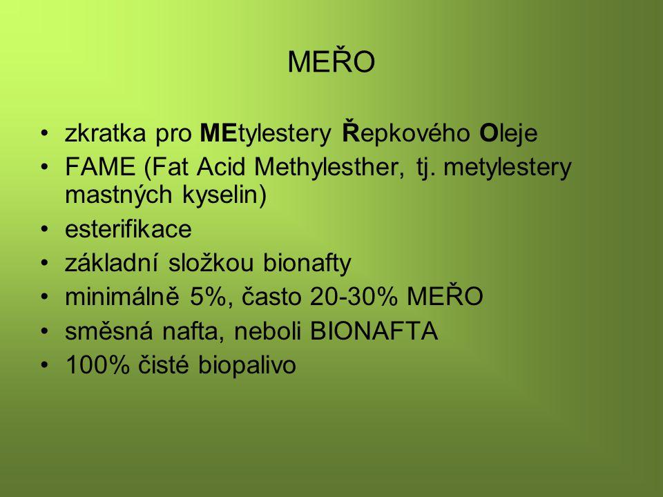 BIONAFTA Výhody: ekologické palivo pro vznětové motory nulové množství síry, maximálně 40 mg/kg při spalovacím procesu lépe shoří vysokou mazací schopnost není toxická, je biologicky odbouratelná Nevýhody: nižší výkon (cca o 5 %) energetické investice Při vyšším poměru smíchání s motorovou naftou může bionafta poškodit přírodní kaučuk a materiály z polyuretanové pěny.