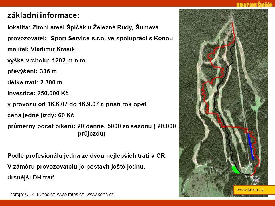 BikePark Špičák www.kona.cz základní informace: lokalita: Zimní areál Špičák u Železné Rudy, Šumava provozovatel: Sport Service s.r.o.