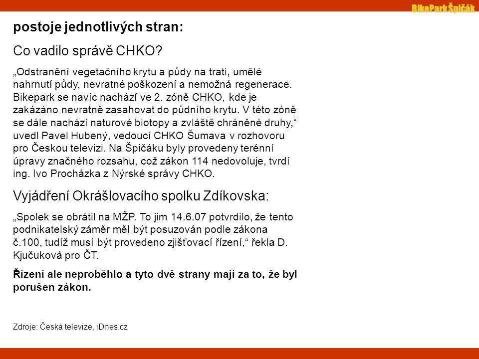 BikePark Špičák postoje jednotlivých stran: Co vadilo správě CHKO.