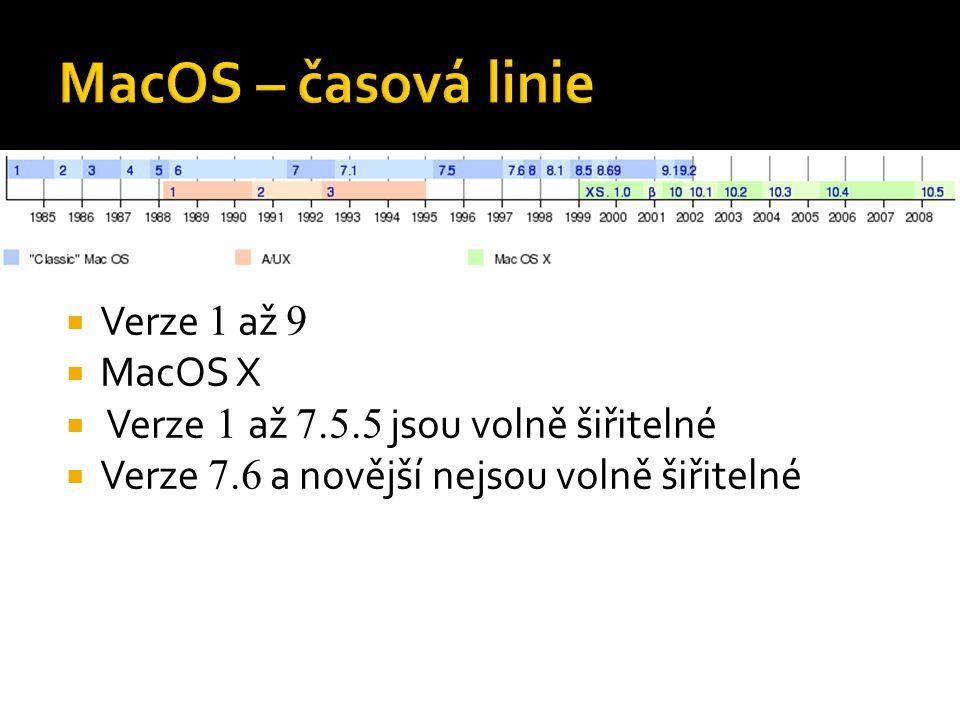  Verze 1 až 9  MacOS X  Verze 1 až 7.5.5 jsou volně šiřitelné  Verze 7.6 a novější nejsou volně šiřitelné