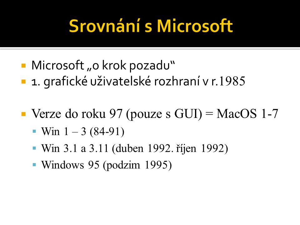""" Microsoft """"o krok pozadu""""  1. grafické uživatelské rozhraní v r. 1985  Verze do roku 97 (pouze s GUI) = MacOS 1-7  Win 1 – 3 (84-91)  Win 3.1 a"""