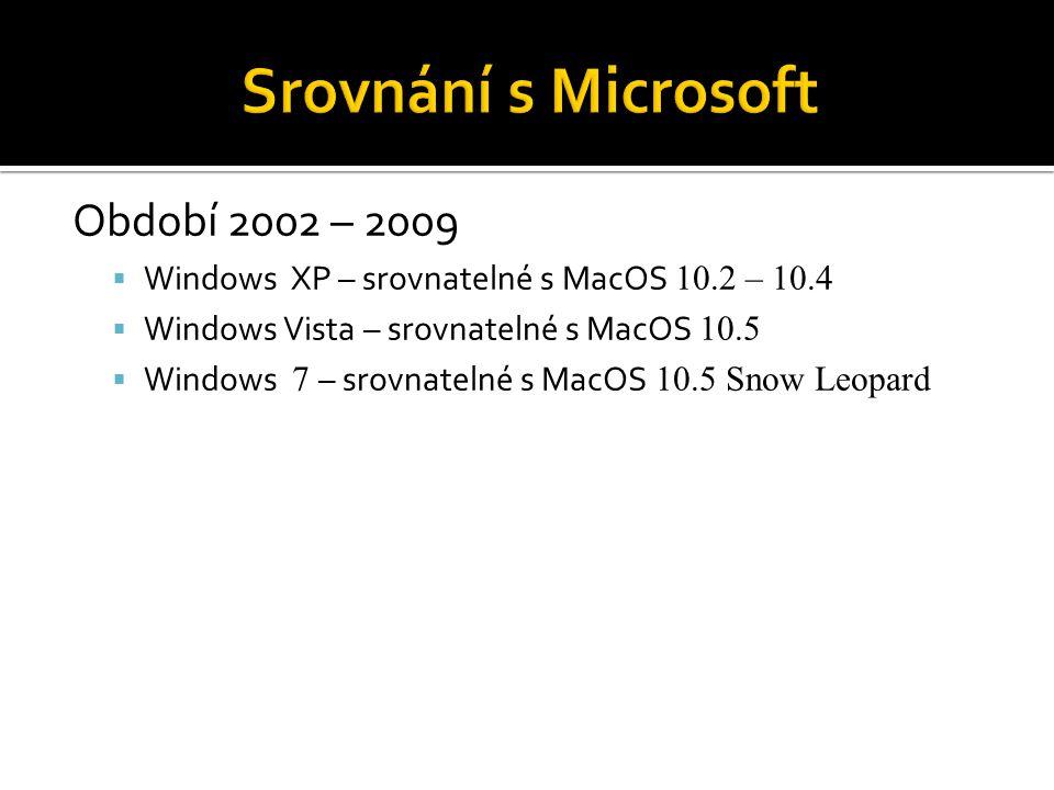 Období 2002 – 2009  Windows XP – srovnatelné s MacOS 10.2 – 10.4  Windows Vista – srovnatelné s MacOS 10.5  Windows 7 – srovnatelné s MacOS 10.5 Sn