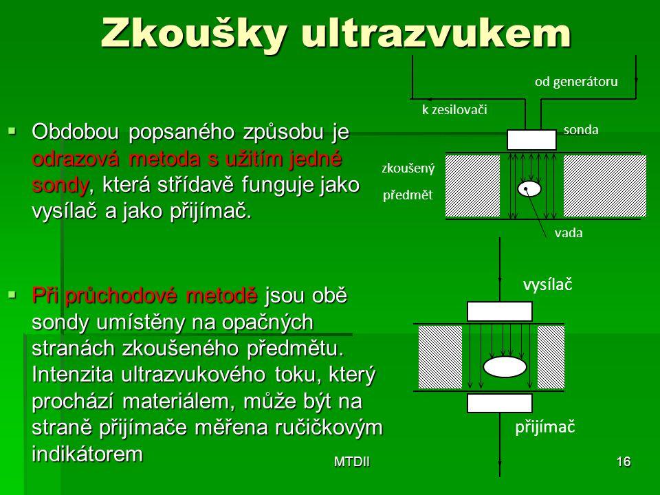 Zkoušky ultrazvukem  Obdobou popsaného způsobu je odrazová metoda s užitím jedné sondy, která střídavě funguje jako vysílač a jako přijímač.  Při pr