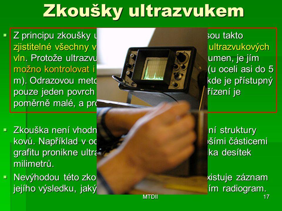 Zkoušky ultrazvukem  Z principu zkoušky ultrazvukem je zřejmé, že jsou takto zjistitelné všechny vady, které přetínají svazek ultrazvukových vln. Pro