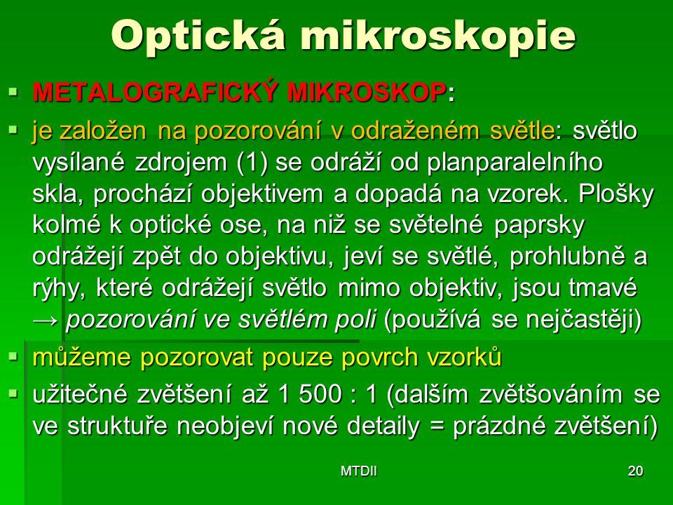 Optická mikroskopie  METALOGRAFICKÝ MIKROSKOP:  je založen na pozorování v odraženém světle: světlo vysílané zdrojem (1) se odráží od planparalelníh