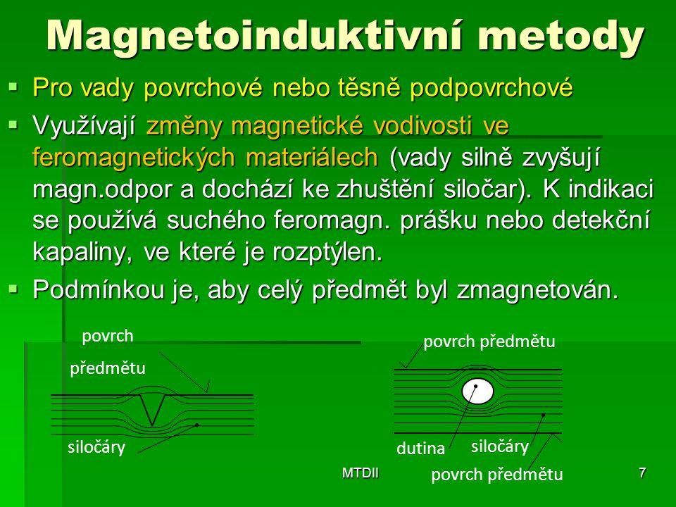 Magnetoinduktivní metody  Pro vady povrchové nebo těsně podpovrchové  Využívají změny magnetické vodivosti ve feromagnetických materiálech (vady sil