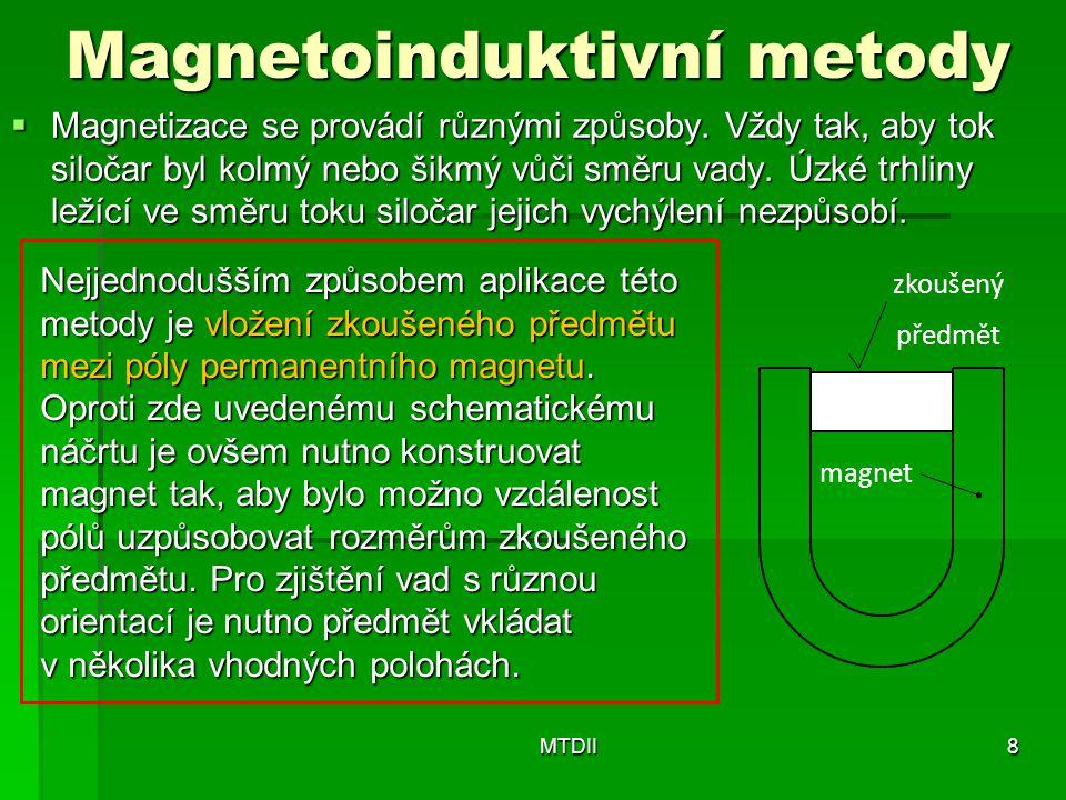 Magnetoinduktivní metody  Magnetizace se provádí různými způsoby. Vždy tak, aby tok siločar byl kolmý nebo šikmý vůči směru vady. Úzké trhliny ležící